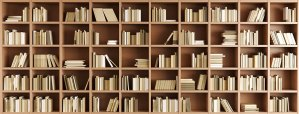 Books on bookshelf