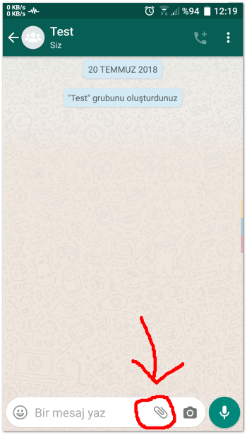 Send an Android location 1 Click the Paper clip icon