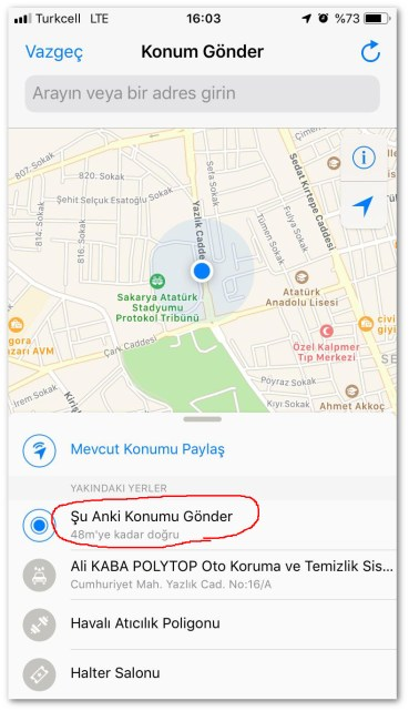 Send iphone location 3 Press send current location button