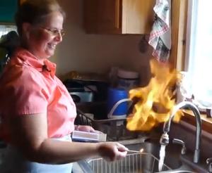 flaming tap water