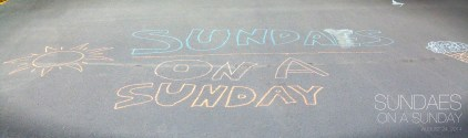The kids chalked the drive! Some disagreement on how Sundae/y is spelled though. :)