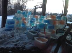 It was more work than we anticipated. The hardest part was ripping the paper cartons off of the ice blocks with slush-frozen gloves!