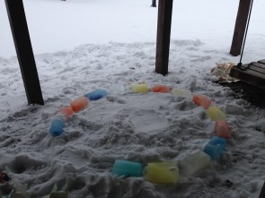 """I wanted to build the igloo in the middle of the yard, but Ben was worried about """"bad guys"""" wrecking it. So he chose a spot under the deck."""