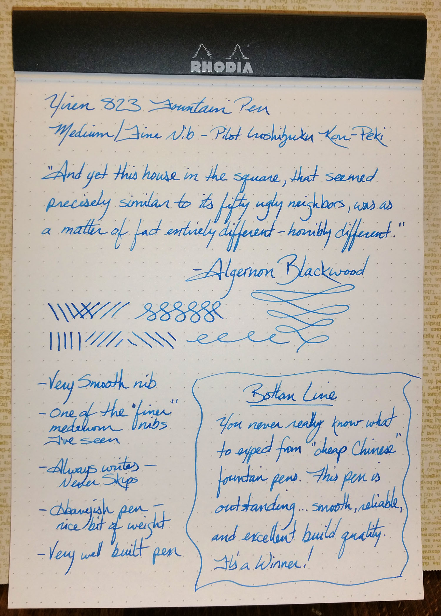 Writing sample from the Yiren 823 Fountain Pen