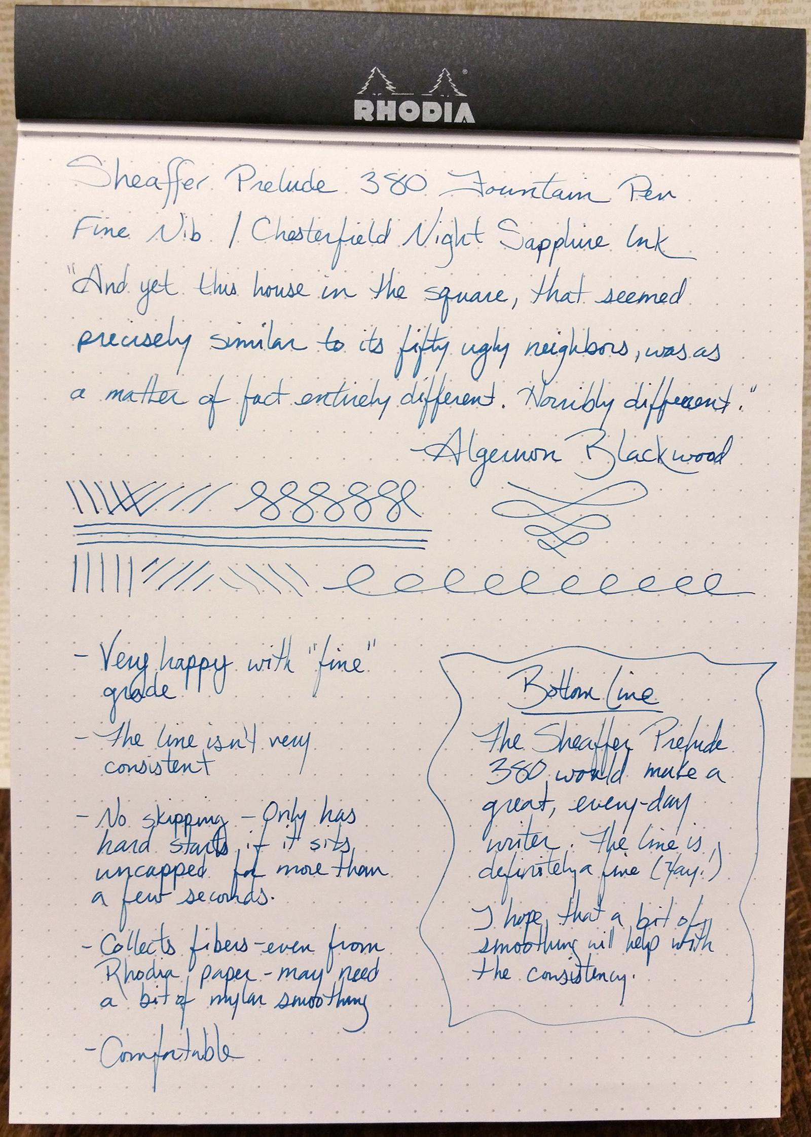 Sheaffer Prelude 380 Fountain Pen Writing Sample