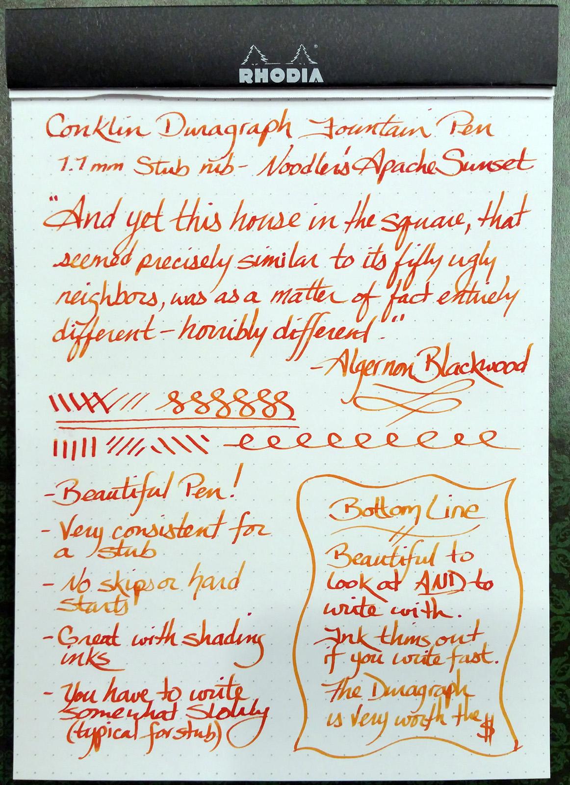 Conklin Duragraph Fountain Pen Writing Sample