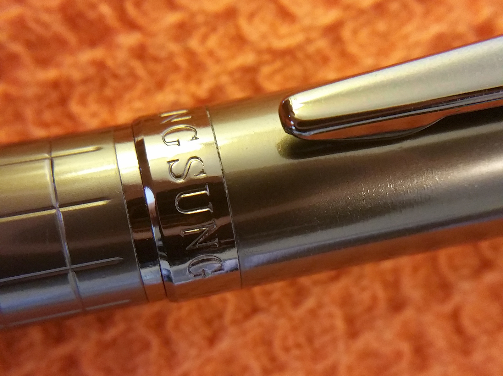 Close up of Wing Sung 3203 Fountain Pen Cap, Barrel, and Clip