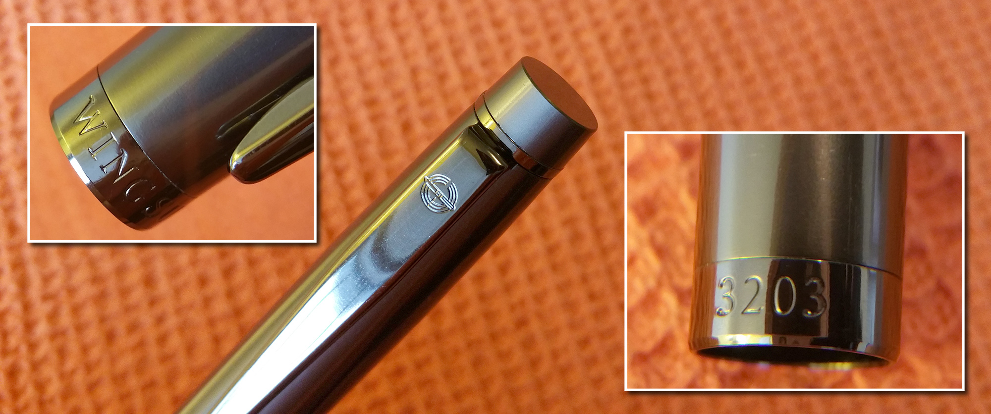 Closeup of Wing Sung 3203 Cap showing engravings on the clip and cap band