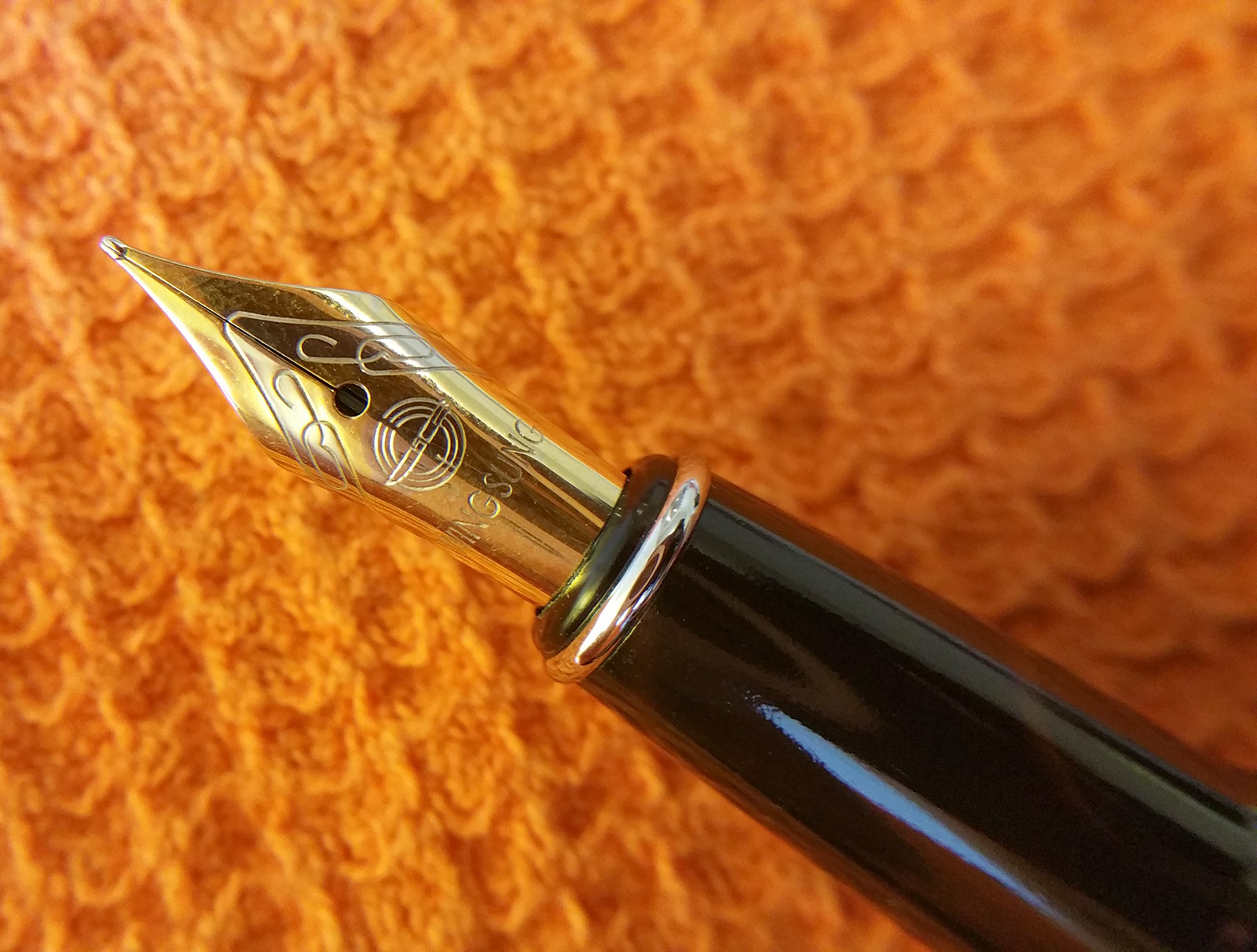 A Close-Up View of the Section and Nib of the Wing Sung 3203 Fountain Pen