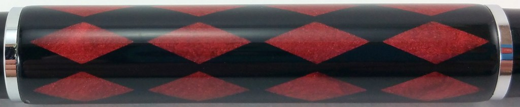 Duke 116 Fountain Pen, close-up of the red and black harlequin pattern