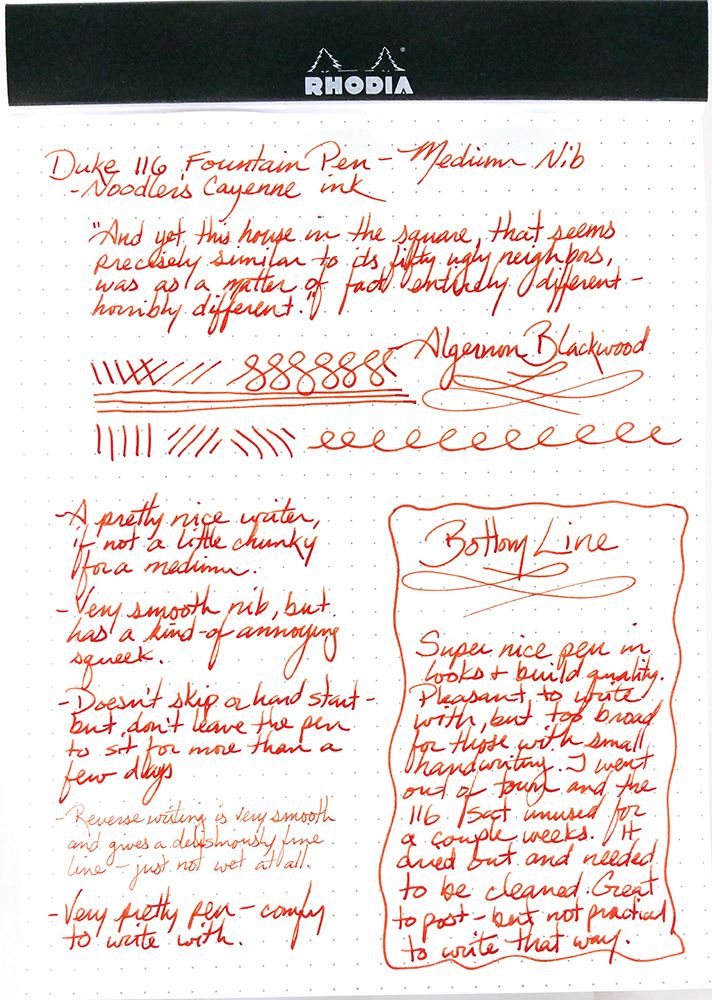 Full writing sample of the Duke 116 Fountain Pen