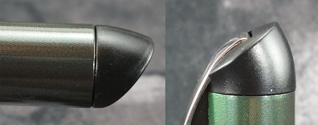 Close-up shots of the weirdly shaped Schneider Glam Fountain Pen End Cap & Finial