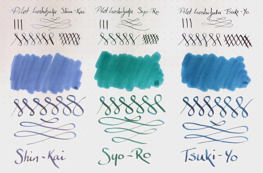 Sample of Pilot Iroshizuku inks: Shin-Kai, Syo-Ro, and Tsuki-Yo