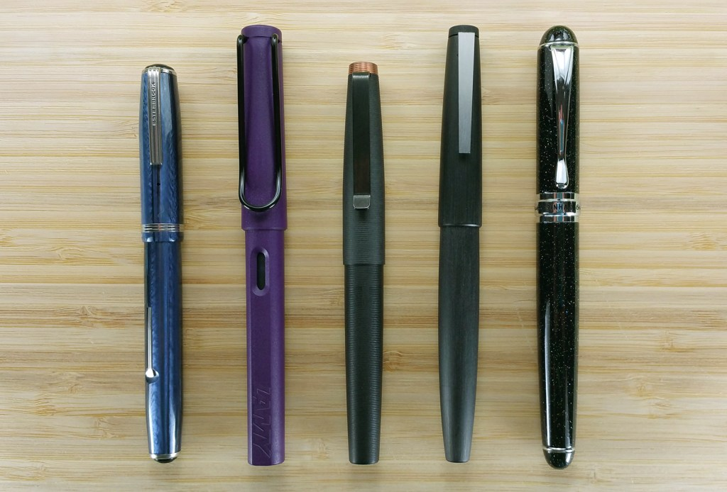 A comparison of five pens: Esterbrook J, Lamy Safari, Tactile Turn Gist, Lamy 2000, and Jinhao x750