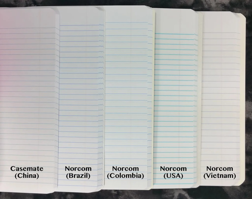 An image showing the different paper colors and styles of line ruling across the five different Composition Books