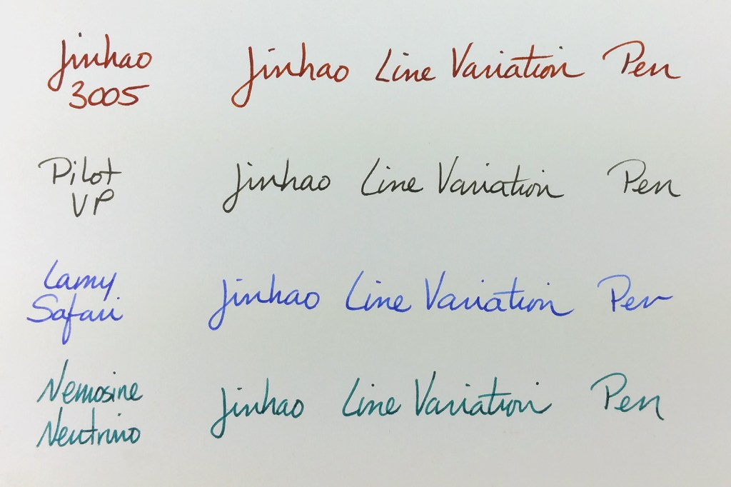 A writing sample showing the slight bit of line variation from the Jinhao 3005 Fountain Pen, and compared to the line from a Pilot Vanishing Point (EF), Lamy Safari (EF), and Nemosine Neutrino (EF)