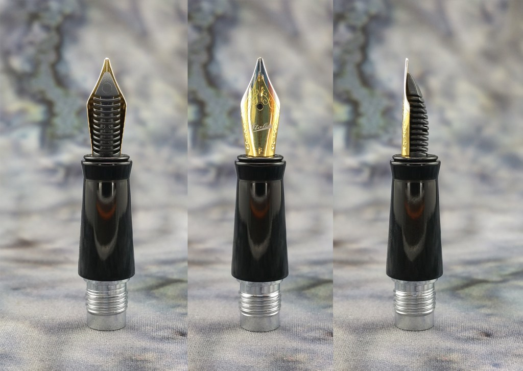 Three close-up views of the Italix Parson's Essential Fountain Pen nib (underside, top, side)