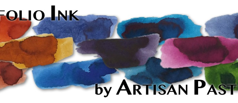 Sampler image and title block for the Callifolio ink comparison: Anahuac, Baikal, Bleu Equinoxe #6, Botany Bay, Cannelle, Cassis, Grenat, Inca Sol, Oconto, Olifants, and Olivastre