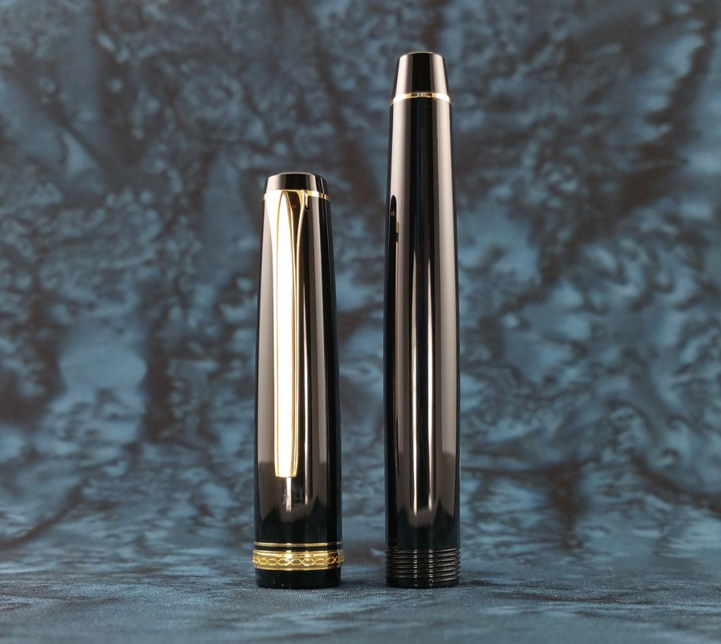 Pilot Falcon Fountain Pen Cap and Barrel, showing the glossy (and highly reflective) resin they are made from