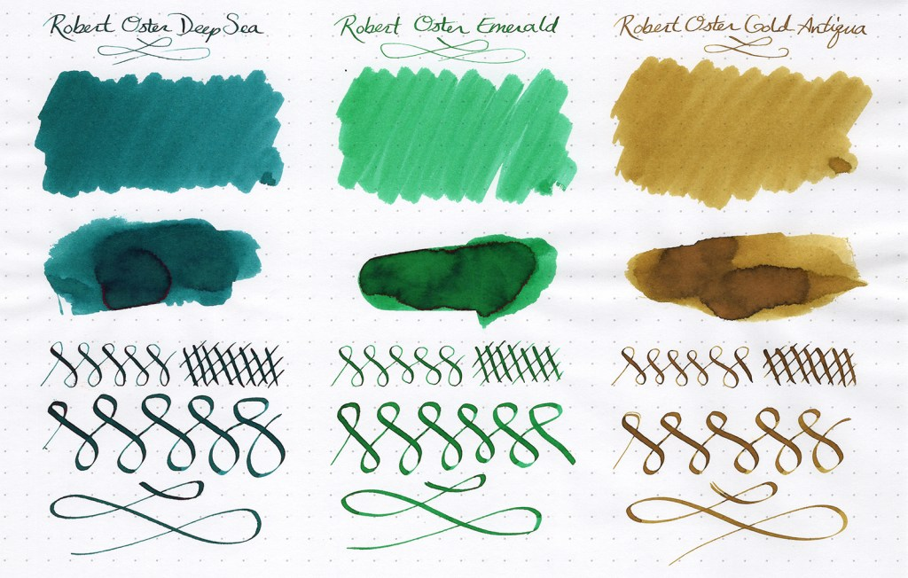 Ink samples, scanned, of three Robert Oster Signature Inks (Deep Sea, Emerald, Khaki)