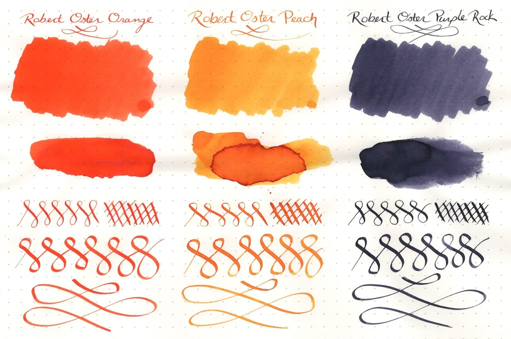 Ink samples, scanned, of three Robert Oster Signature Inks (Orange, Peach, Purple Rock)