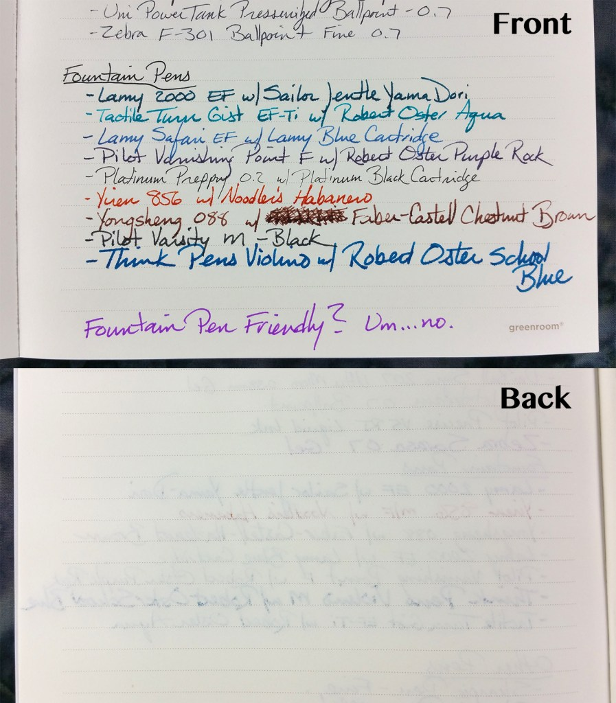 Writing samples on the Greenroom Recycled Notebook paper, showing both the front and back of the paper (close-up of the fountain pens)