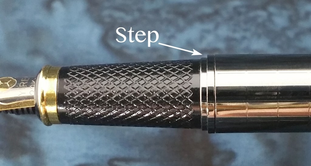 Close up of the sharp barrel step on the Yiren 856 Fountain Pen