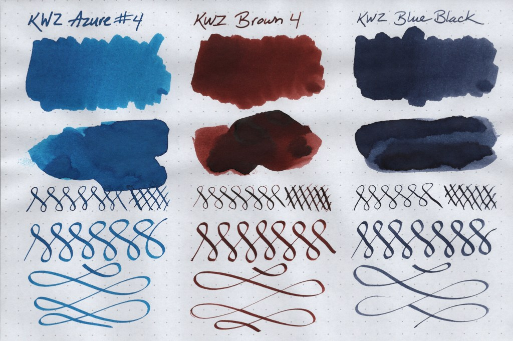 KWZ Ink Samples (Azure #4, Brown 4, and Blue Black). Image is scanned. Samples are created on Rhodia Dot Grid paper using a Blue Pumpkin dip nib, a Speedball C-4 Calligraphy nib, cotton swabs, and a paint spatula.