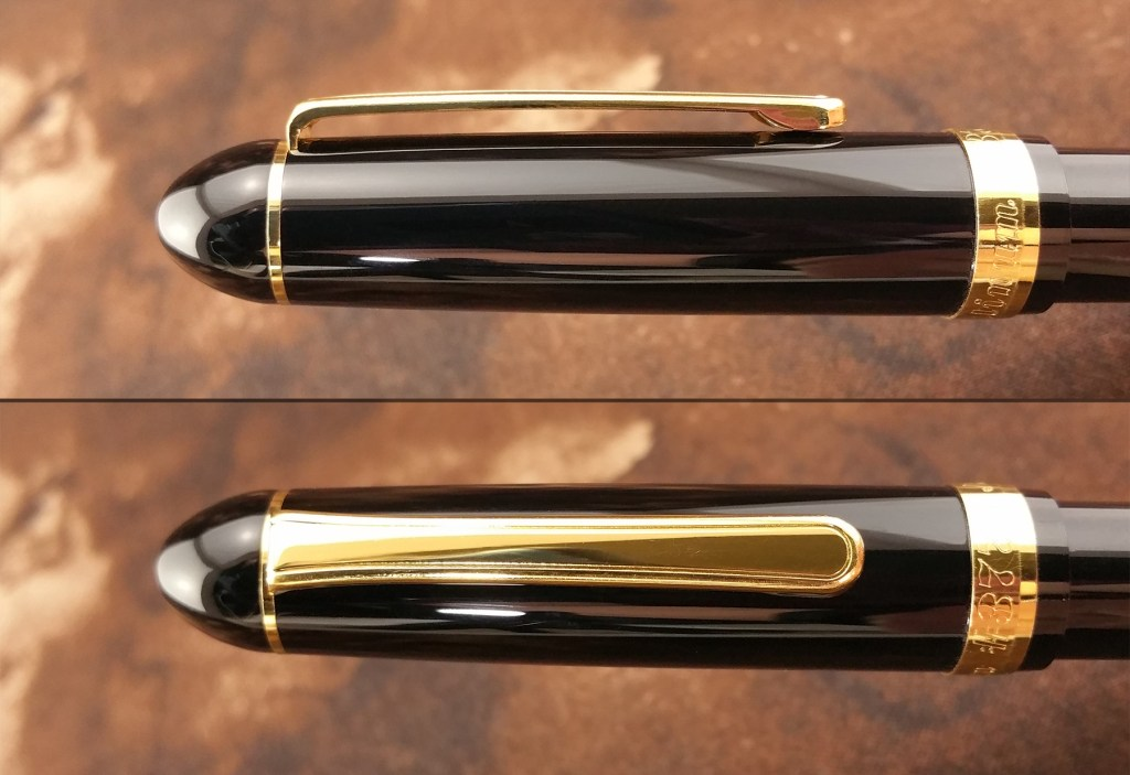 Two views of the Platinum 3776 Balance Maestro Fountain Pen Clip, one from the front, one from the side
