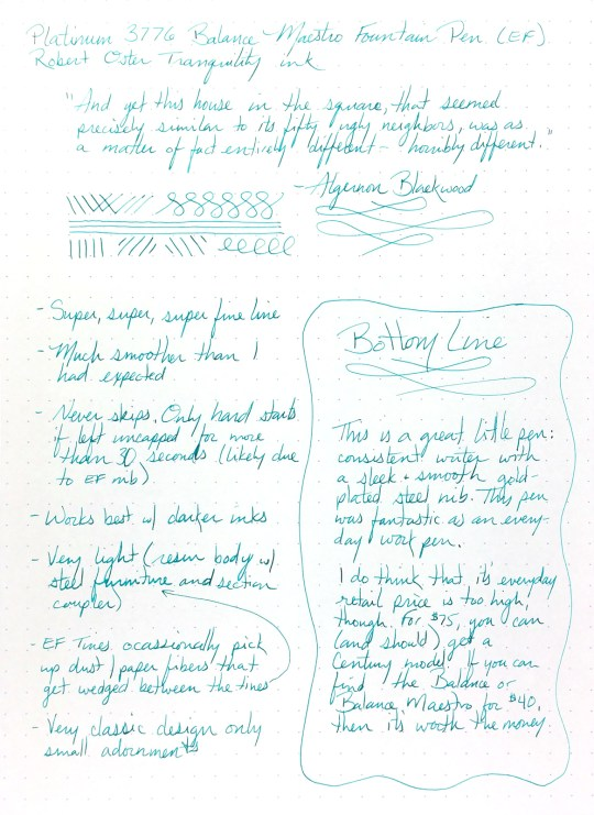 The Platinum 3776 Balance Maestro Fountain Pen Writing Sample, using a #16 Rhodia DotPad and Robert Oster Tranquility ink
