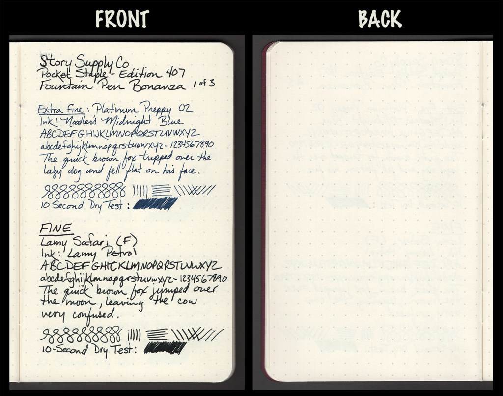 This image shows the front and back of a page in a Story Supply Co. Edition 407, showing writing samples and any effect on the back side of the page. Two fountain pens: EF Platinum Preppy with Noodler's Midnight Blue ink, and F Lamy Safari with Lamy Petrol ink