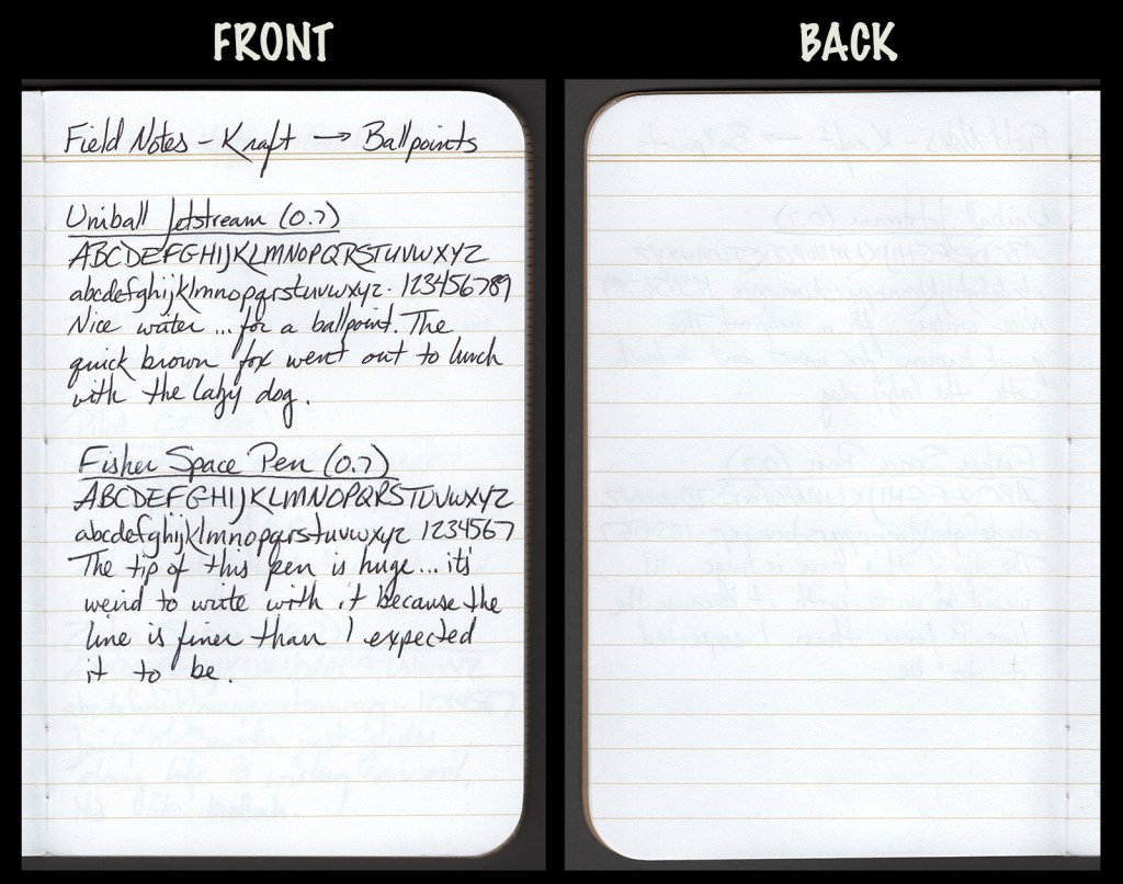 This image shows the front and back of a page in a Field Notes Kraft Notebook, showing writing samples and any effect on the back side of the page. Two ballpoint pens: Uniball Jetstream (0.7) and Fisher Space Pen (0.7)