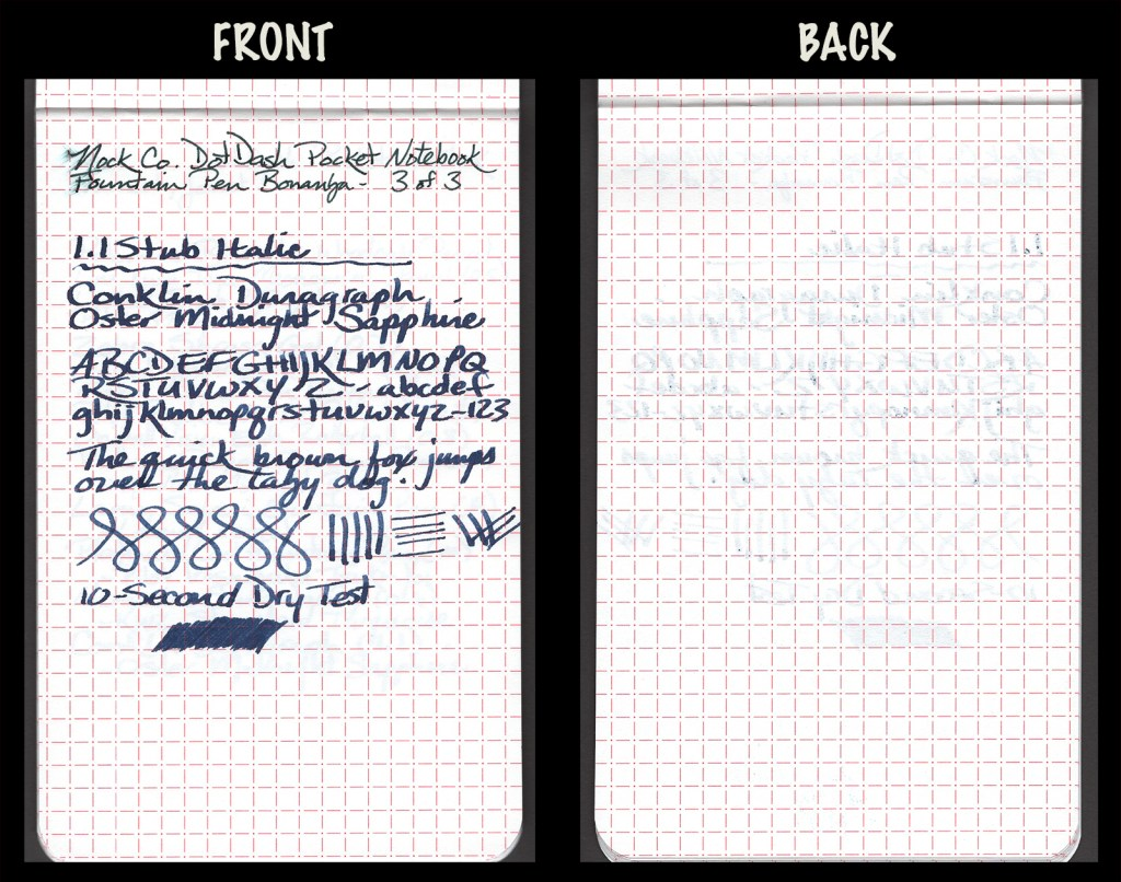 This image shows the front and back of a page in a Nock Co. DotDash Pocket Notebook, showing writing samples and any effect on the back side of the page. One fountain pen: 1.1mm Conklin Duragraph with Robert Oster Signature Midnight Sapphire ink.