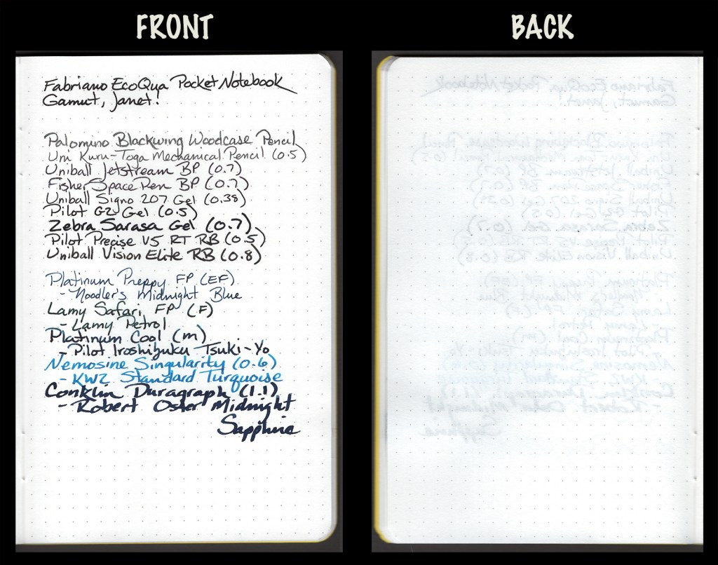 This image shows the front and back of a page in a Fabriano EcoQua Pocket Notebook, showing writing samples and any effect on the back side of the page. All writing instruments from the test together on one page.