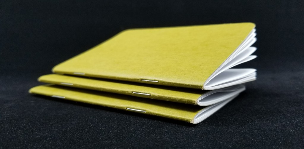 A stack of Scout Books Pocket Notebooks showing the binding