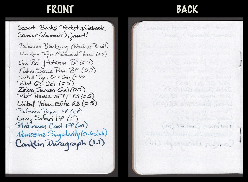 This image shows the front and back of a page in a Scout Books Pocket Notebook, showing writing samples and any effect on the back side of the page. All writing instruments from the test together on one page.