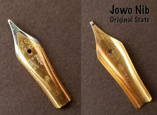 Close images of the front and back sides of the Jowo/Newton Pens two-tone steel nib (B) before being soaked in Organics Studio Aristotle Iron Gall ink.