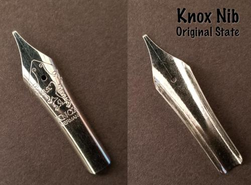 Close images of the front and back sides of the Knox #6 steel nib (1.1mm stub) before being soaked in Organics Studio Aristotle Iron Gall ink.