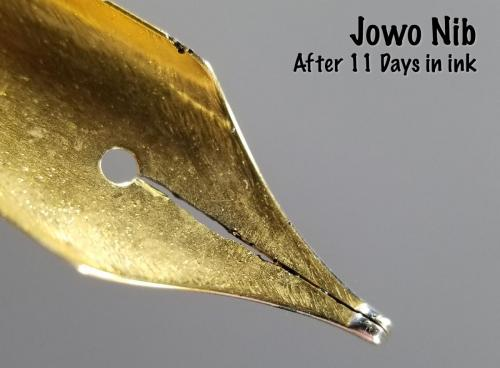 Underside view of the Jowo nib after 11 days in the Aristotle Iron Gall ink. This view shows the corrosion around the slit and several large pits in the shoulder of the nib.
