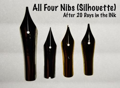 An image of all four steel nibs (Knox, Jowo, Bock, and Pilot), lit from behind for a clear view of any major damage the nibs sustained after being submerged in Organics Studio Aristotle Iron Gall ink for 20 days.