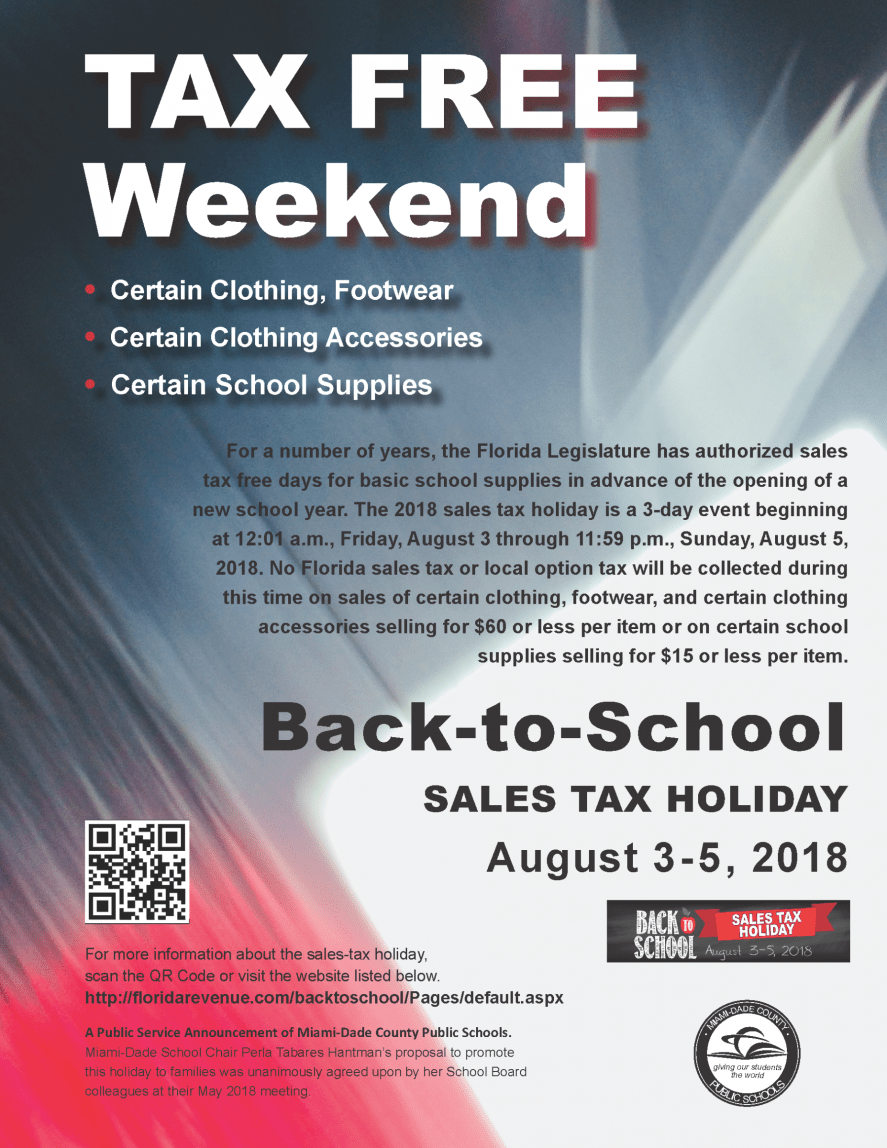 2018 Back-to-School Sales Tax Holiday