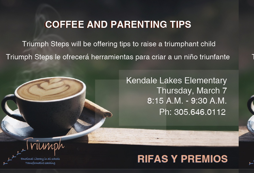 Coffee and important training on parenting/behavioral tips presented by Triumph Steps