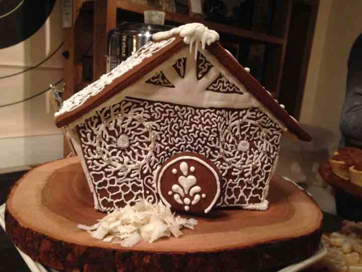 2013 Gingerbread Cottage covered in snow Copywrite 2019 KendellKreations