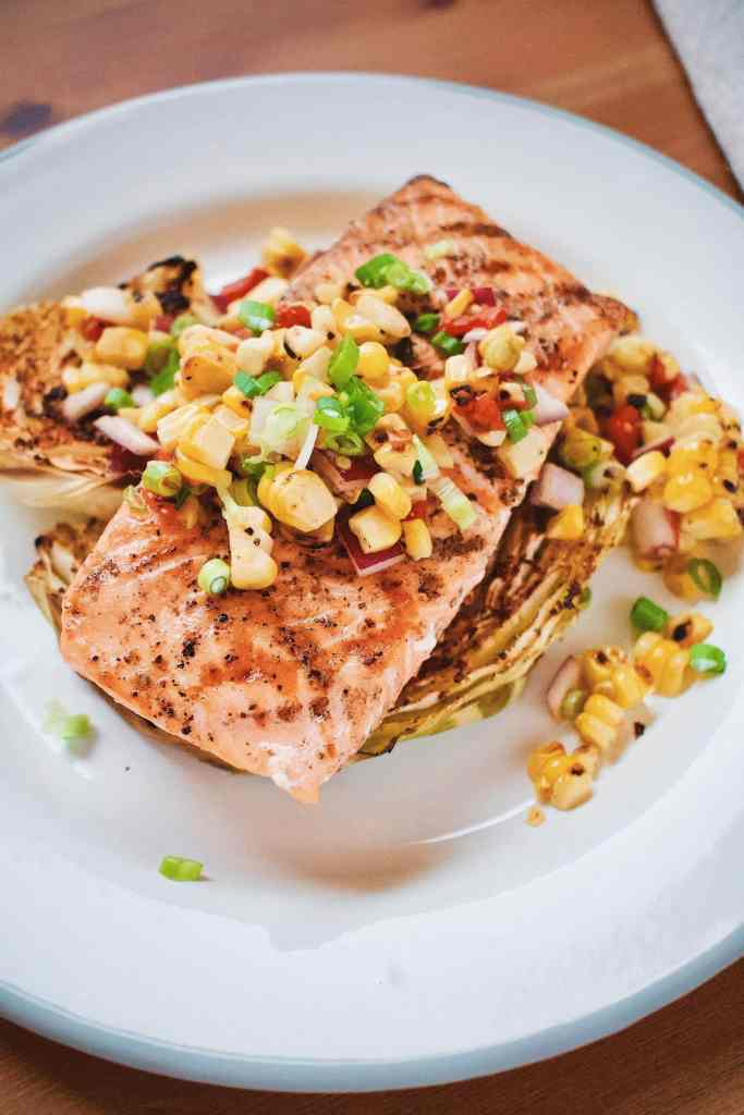 Seared Salmon, Roasted Cabbage and Corn Salad