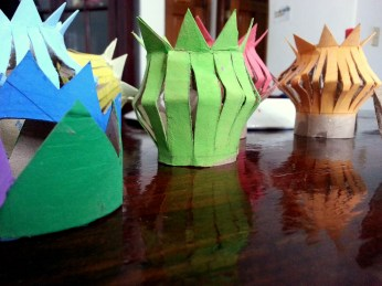 Painted cardboard rolls. (Photo/Kendra Yost)