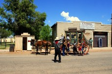 Tourists get their picture taken in Tombstone Arizona. Photo/Kendra Yost