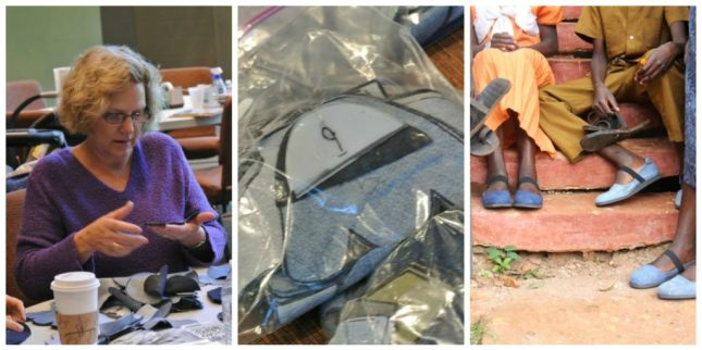 My mom at our shoe cutting party // our completed shoe material packets // Ugandans wearing completed Sole Hope shoes.
