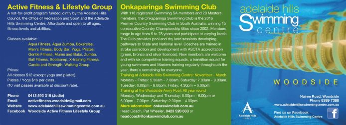 Current Adelaide Hills Swimming Centre brochure, front and back tri- fold. Created by Kendrea Rhodes.