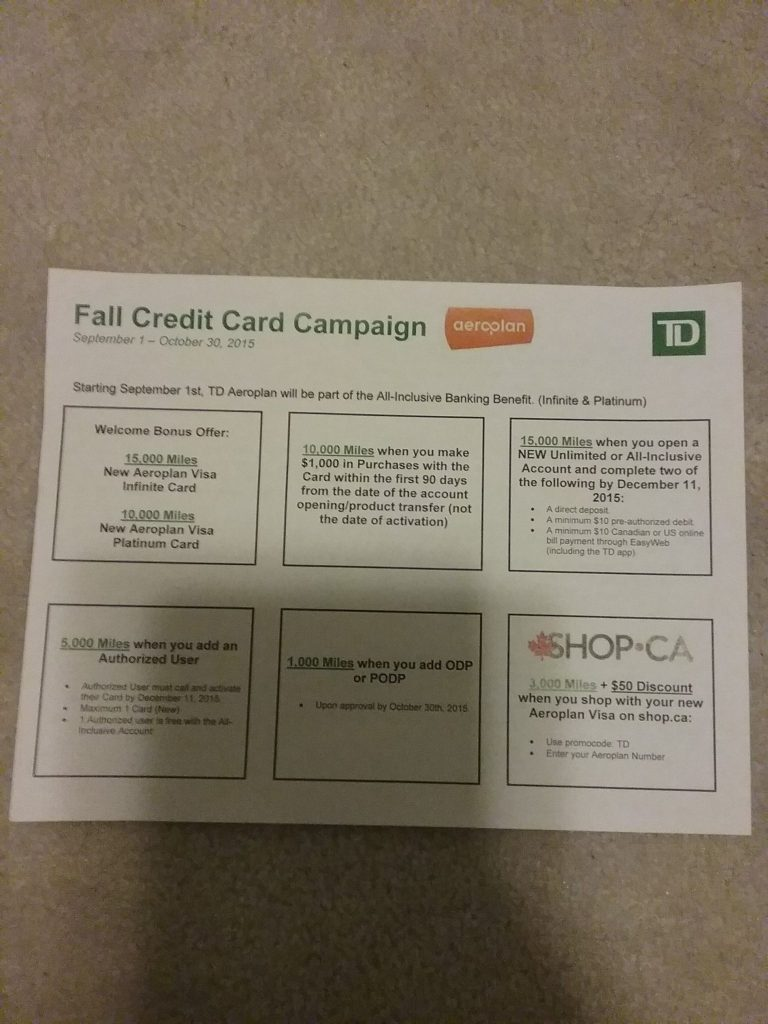 Earn 49000 Aeroplan Points From Td Bank Travel And Live Free