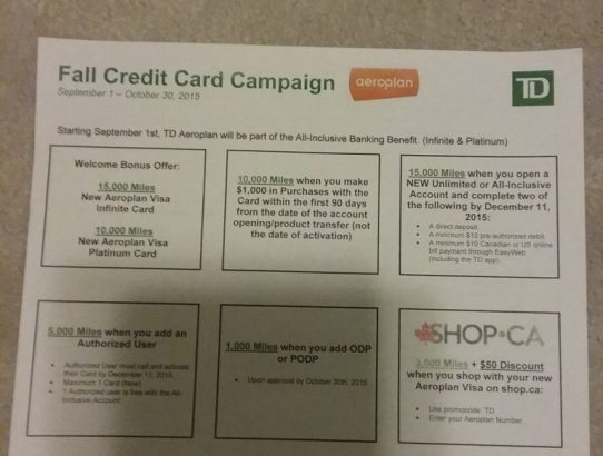 Earn 49,000 Aeroplan Points from TD Bank!